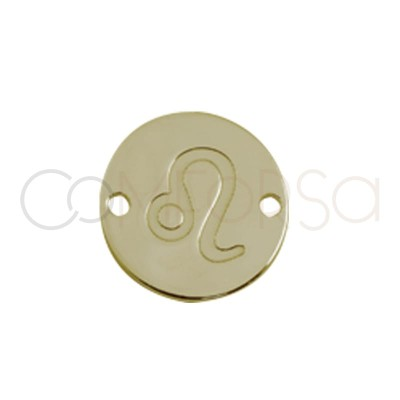 Gold plated silver horoscope connector Leo bas-relief 10 mm