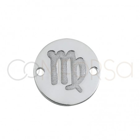 Sterling silver 925 horoscope connector virgo bas-relief 10 mm