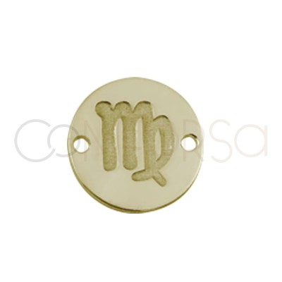 Gold plated silver horoscope connector virgo bas-relief 10 mm