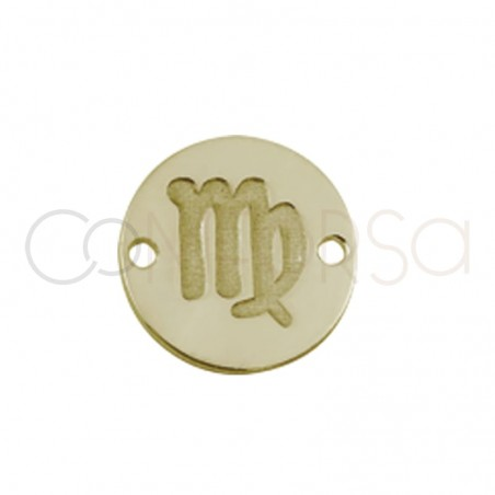 Entrepieza horóscopo Virgo bajo relieve 10 mm plata chapada en oro
