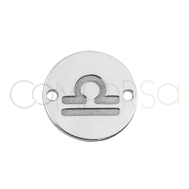 Sterling silver 925 horoscope connector Libra bas-relief 10 mm