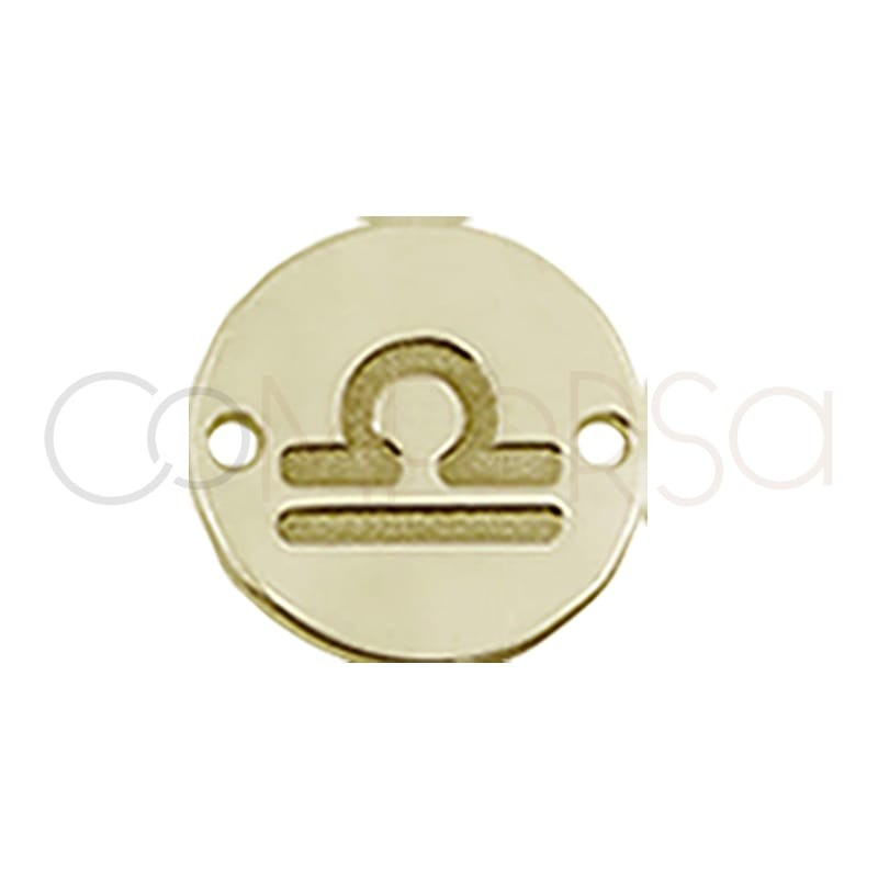 Gold plated silver horoscope connector Libra bas-relief 10mm