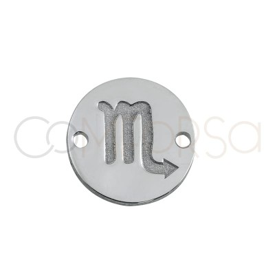 Sterling silver 925 horoscope scorpio connector bas-relief 10 mm