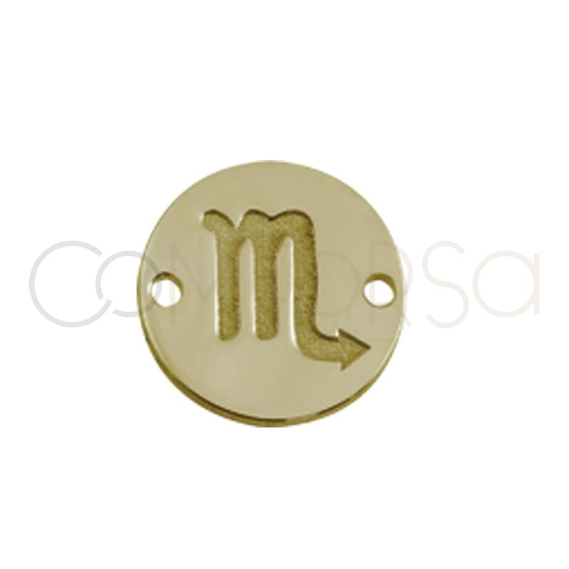 Gold plated silver horoscope connector scorpio bas-relief 10mm