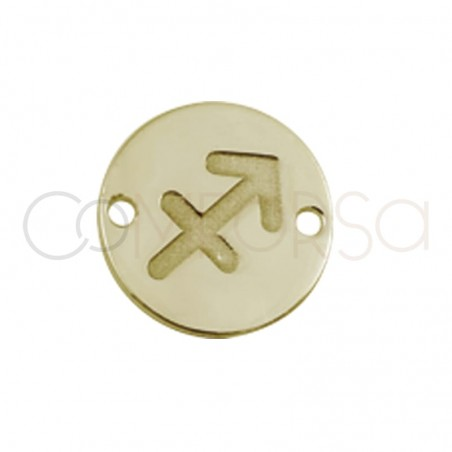 Gold plated silver horoscope connector Sagittarius bas-relief 10mm