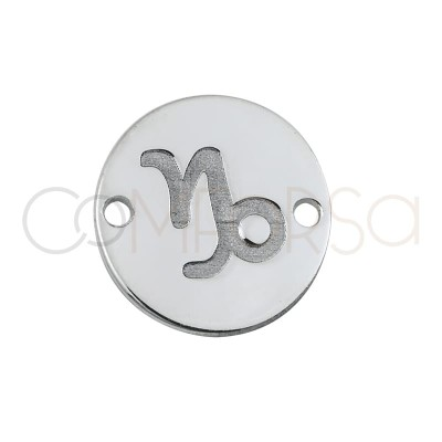 Sterling silver 925 horoscope capricorn connector bas-relief 10mm