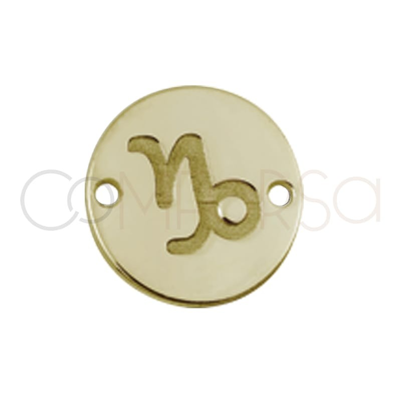 Gold plated silver horoscope connector capricorn bas-relief 10mm