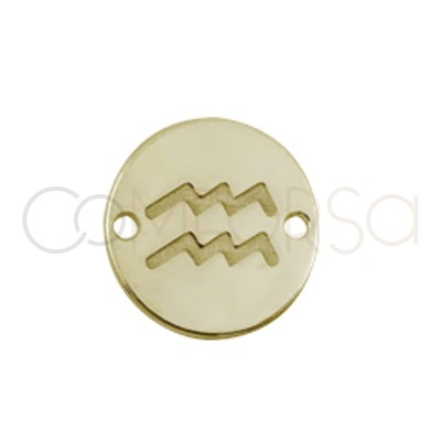 Sterling silver gold plated horoscope connector Aquarius bas-relief 10mm