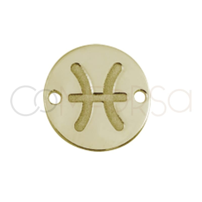 Gold plated silver horoscope connector Pisces bas-relief 10mm gold plated silver