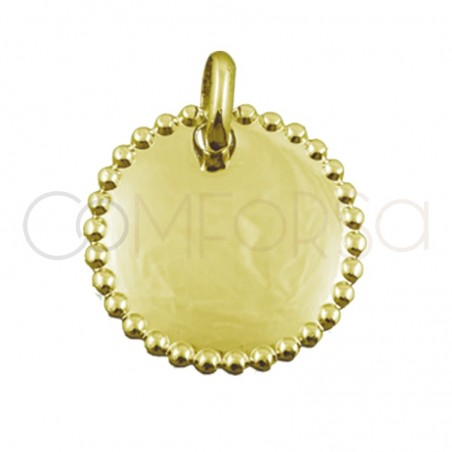 Gold-plated silver pendant with metal sheet with edge 20 mm