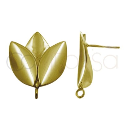 Sterling silver 925 gold-plated tulip earring finding 18.5 x 22mm