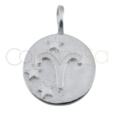 Colgante horóscopo Aries alto relieve 20 mm plata 925 chapada en oro