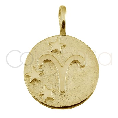 Gold plated Aries horoscope pendant high relief 20 mm