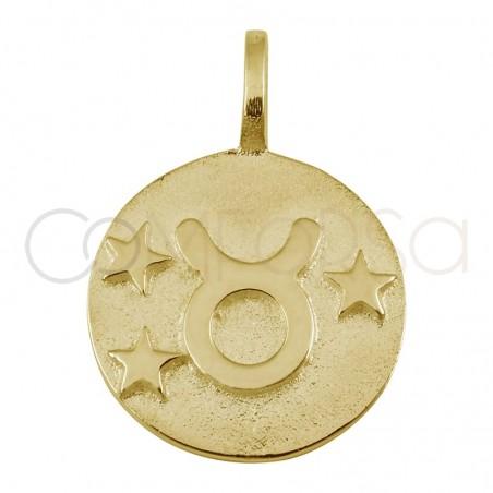 Colgante horóscopo Tauro alto relieve 20 mm plata 925