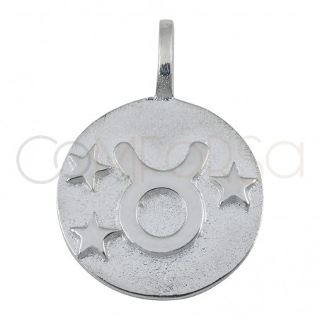 Colgante horóscopo Tauro alto relieve 20 mm plata 925 chapada en oro