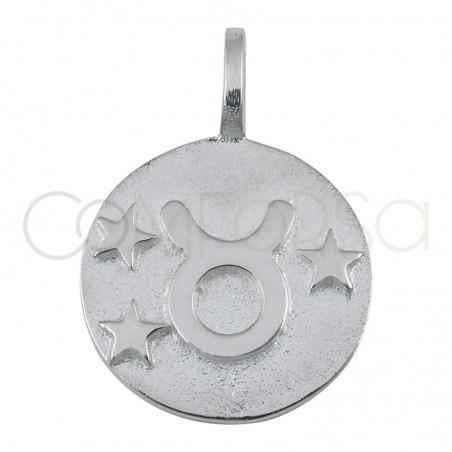 Colgante horóscopo Tauro alto relieve 20 mm plata chapada en oro