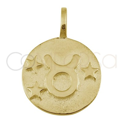 Gold plated silver Taurus horoscope pendant high relief 20 mm