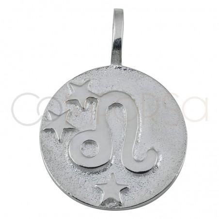 Colgante horóscopo Leo alto relieve 20 mm plata 925