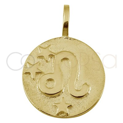 Gold plated Leo horoscope pendant high relief 20 mm