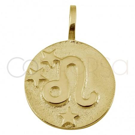 Colgante horóscopo Leo alto relieve 20 mm plata 925 chapada en oro