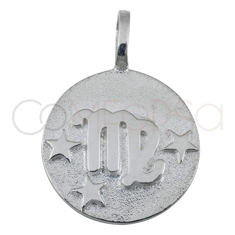 Colgante horóscopo Virgo alto relieve 20 mm plata 925