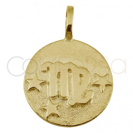 Gold plated silver Virgo horoscope pendant high relief 20 mm