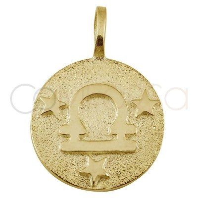 Gold plated silver Libra horoscope pendant high relief 20 mm