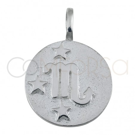 Gold plated silver Scorpio horoscope pendant high relief 20 mm