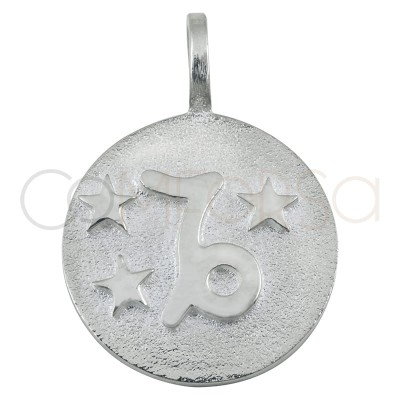 Colgante horóscopo Capricornio alto relieve 20 mm plata 925 chapada en oro