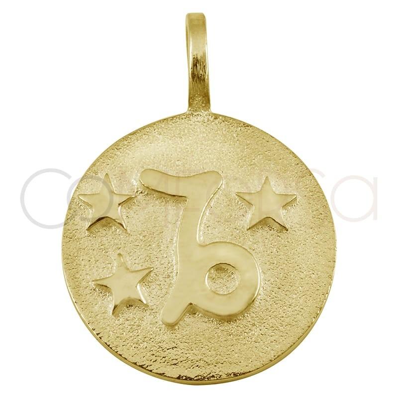 Colgante horóscopo Capricornio alto relieve plata chapada en oro