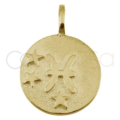 Gold plated silver Pisces horoscope pendant high relief 20 mm