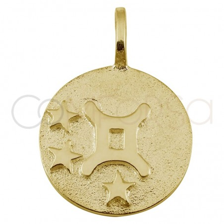 Gold plated Geminis horoscope pendant high relief 20 mm