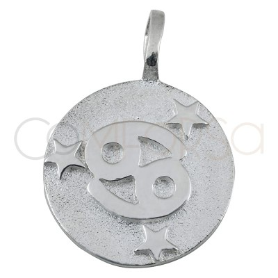 Colgante horóscopo Cáncer alto relieve 20 mm plata 925