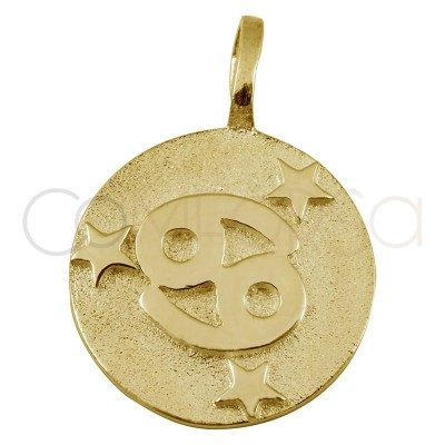 Gold plated Cancer horoscope pendant high relief 20 mm