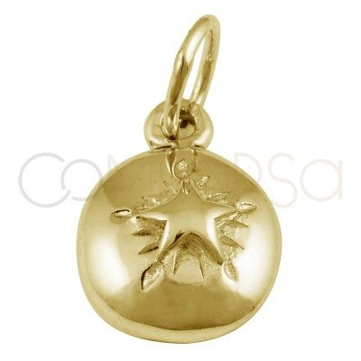 Colgante estrella alto relieve 8 mm plata chapada en oro