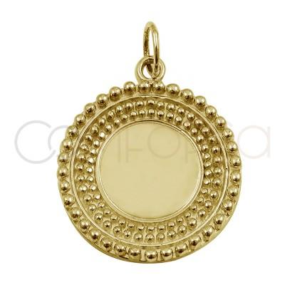 Chapa cuentas espejo 20 mm plata chapada en oro