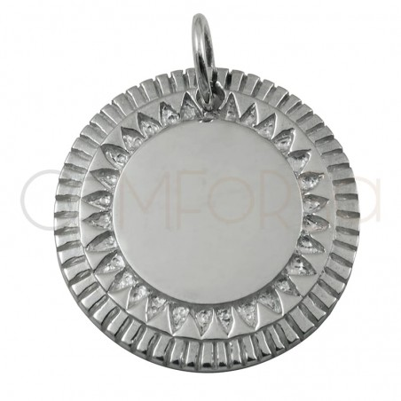 Sterling silver 925 gold-plated ethnic pendant 20 mm