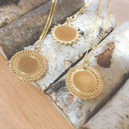 Gold-plated sterling silver beaded solar pendant 20 mm