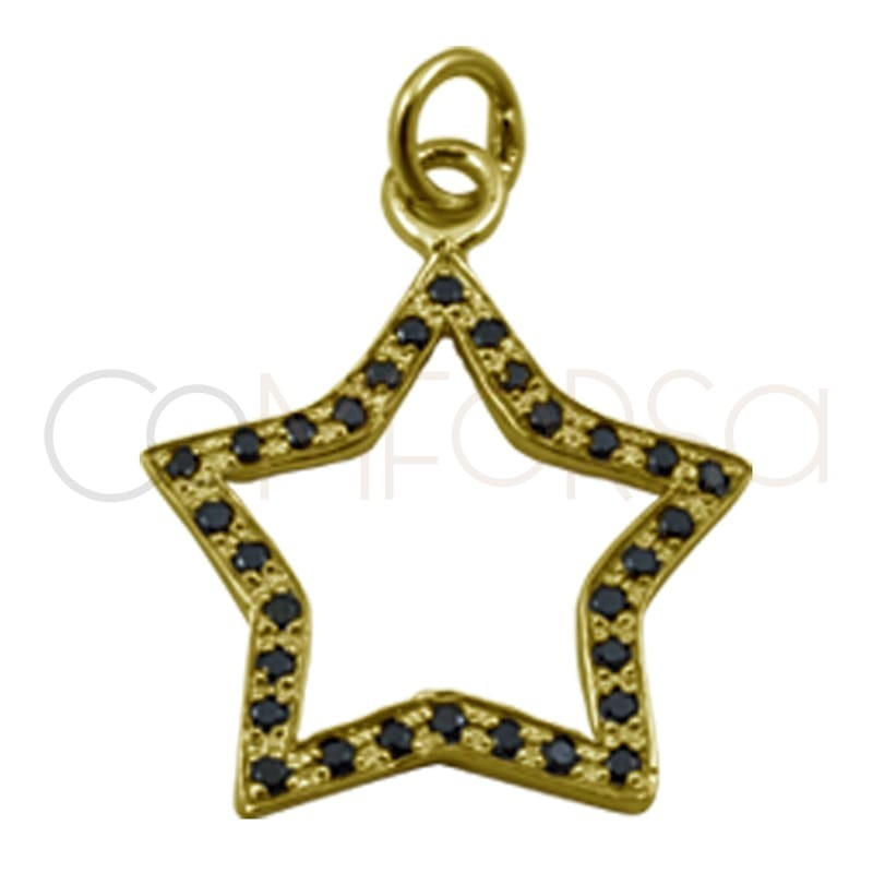 Sterling silver 925 gold-plated star pendant black zirconia 15 mm