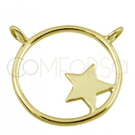 Sterling silver 925 gold-plated pendant 17 mm with double rings and star