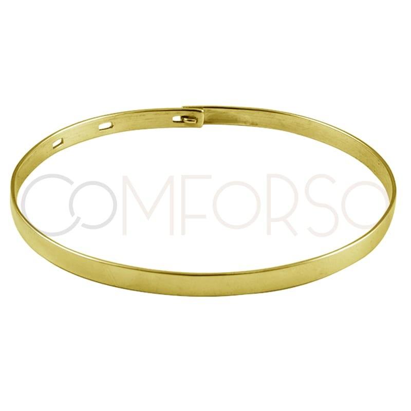 Pulsera lisa ovalada ajustable plata chapada en oro