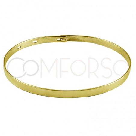 Sterling silver 925 gold-plated smooth oval adjustable bracelet