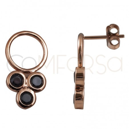 Sterling silver 925 rose gold-plated hoop earring with black triple zirconia stones 5mm