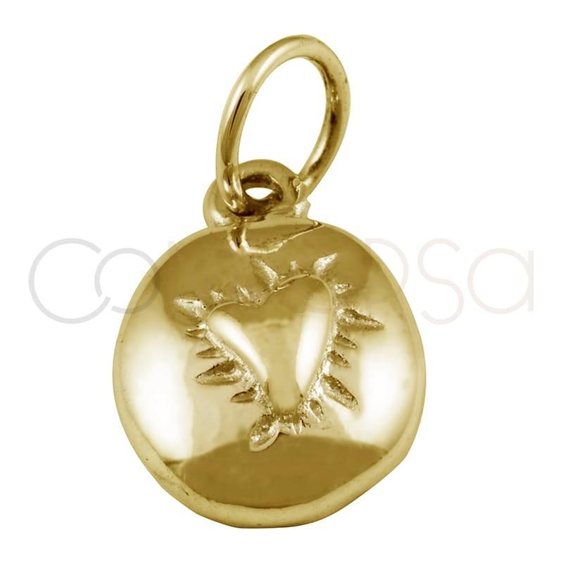 Colgante corazón alto relieve 8 mm plata chapada en oro