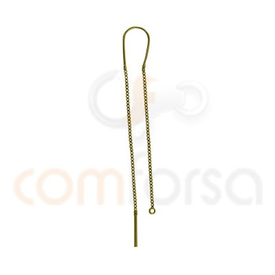 Sterling silver 925 Gold plated earring with chain 45 mm
