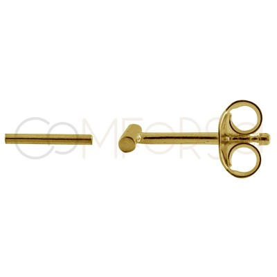 Sterling silver 925 gold-plated bar earring 10mm