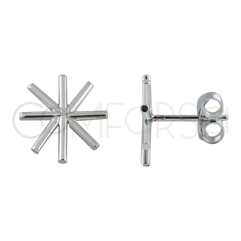 Pendientes asterisco 12 mm plata 925