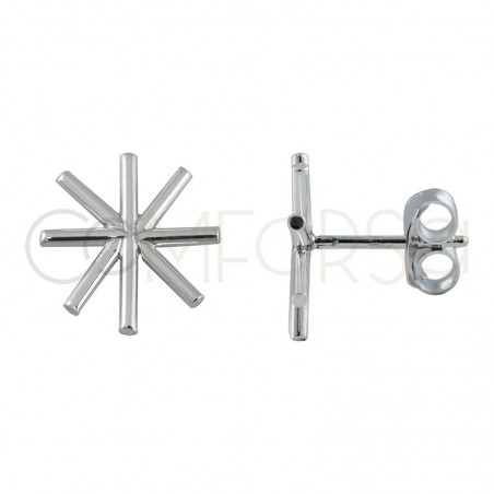 Sterling silver 925 gold-plated asterisk earrings 12mm