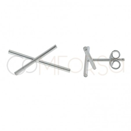 Sterling silver asymmetrical crossed bar earring 20x15mm