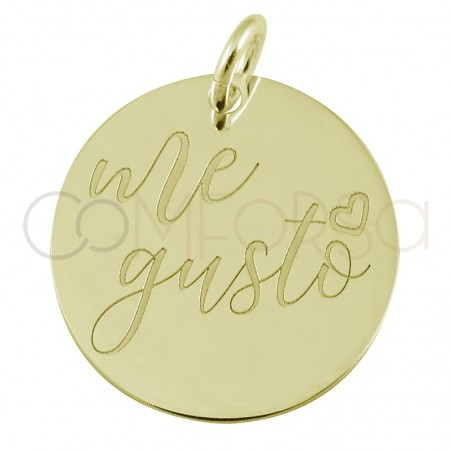 """Sterling silver 925 gold-plated pendant """"Me Gusto"""" 17mm"""